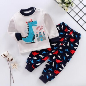 2-piece Cartoon Pattern Thick Pajamas Sets for Toddler Boy