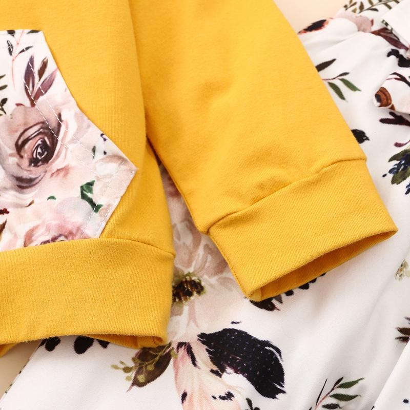 2-piece Floral Printed Hoodie & Pants for Baby Girl