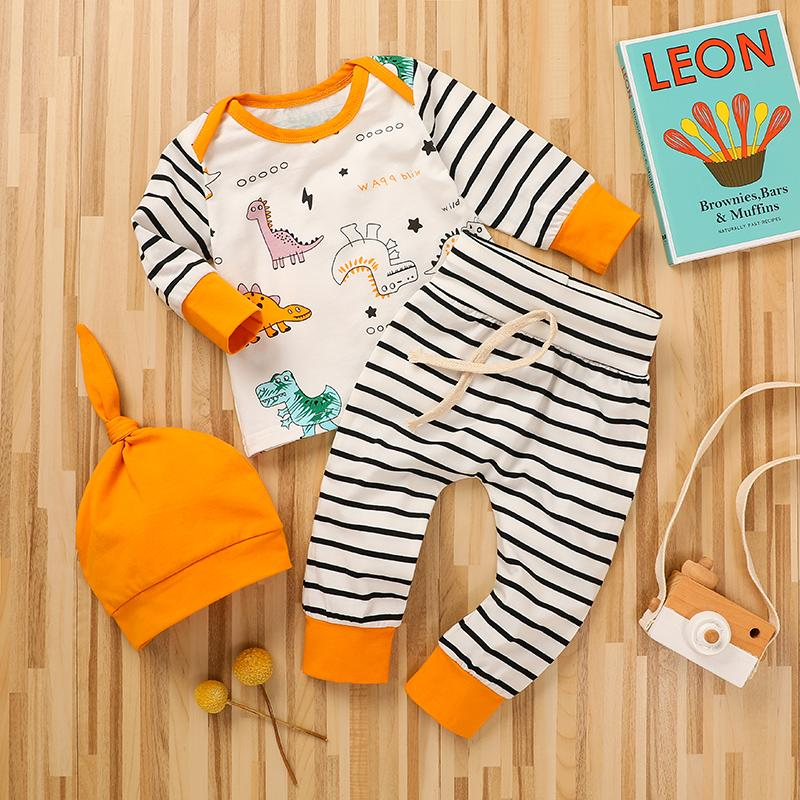 3-piece Dinosaur Pattern Hoodie & Stripes Pants & Hat for Baby Boy