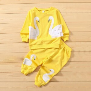 2-piece Swan Pattern Suit for Toddler Girl