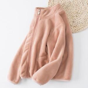 Solid Pattern Fleece-lined Jacket for Girl