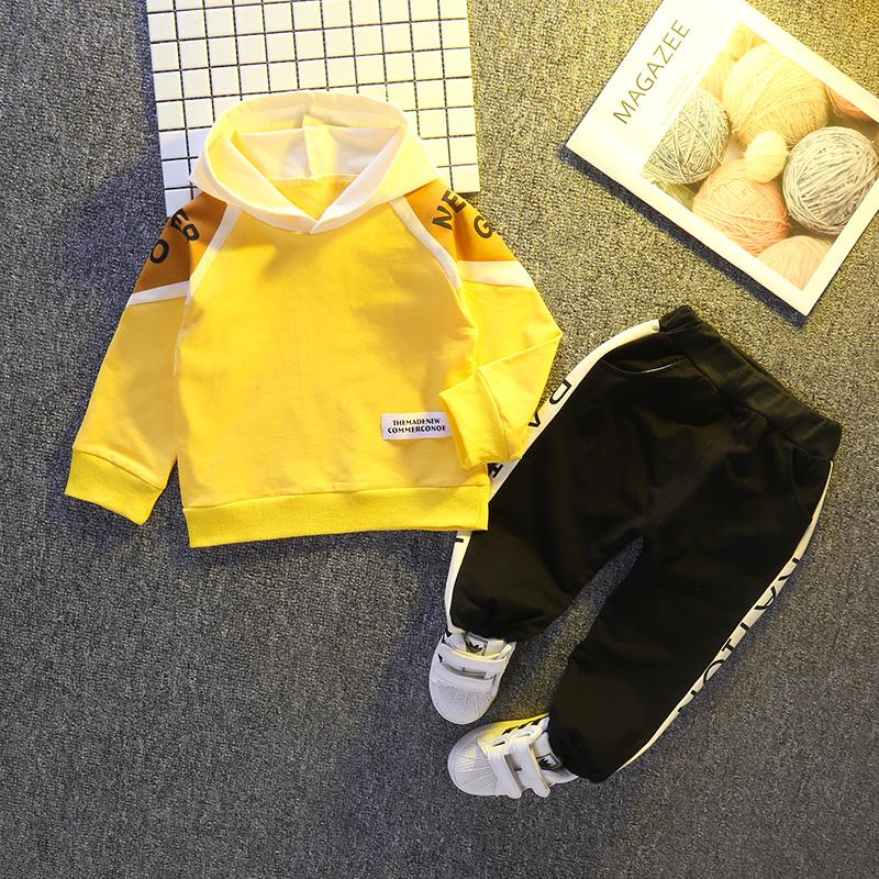2-piece Color-block Hoodie & Pants for Toddler Boy