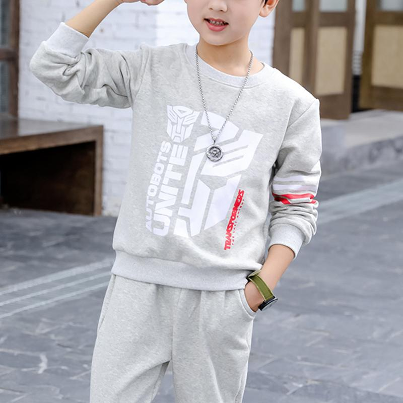 2-piece Letter Pattern Hoodie & Solid Pattern Pants for Boy