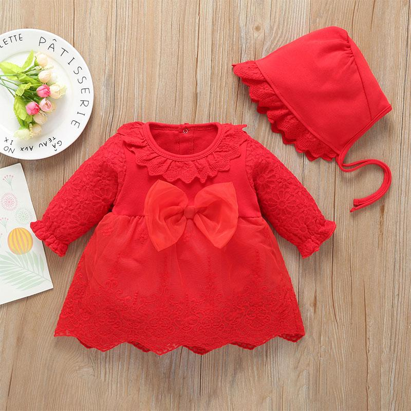 2-piece Bow Decor Dress & Hat for Baby Girl