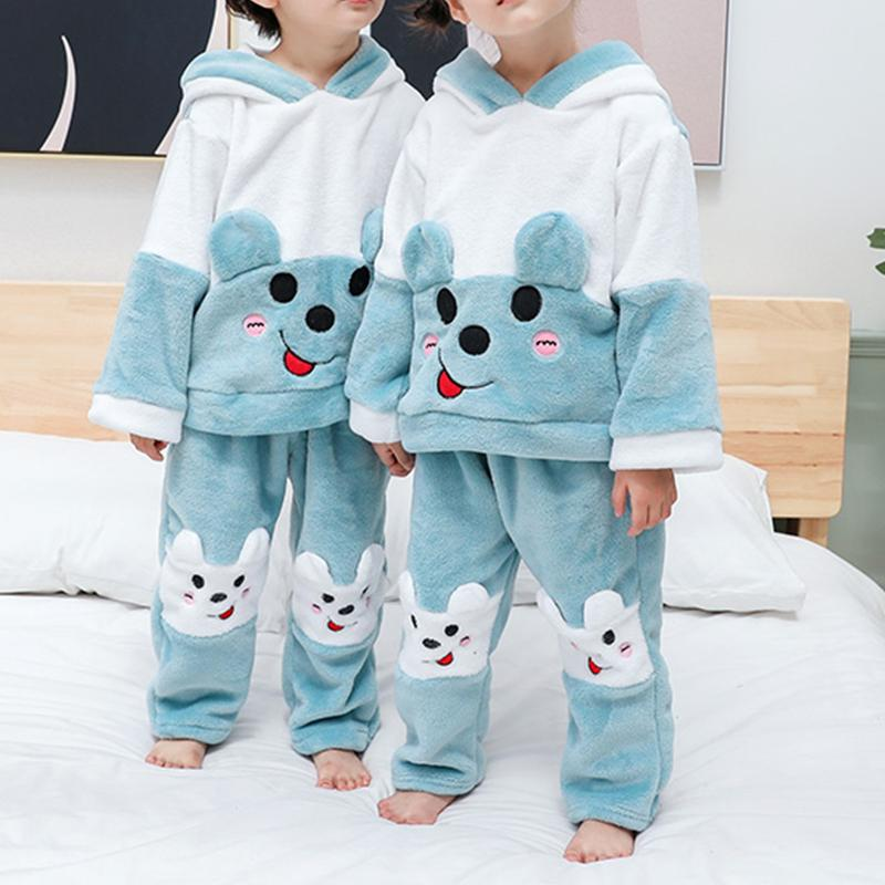2-piece Animal Pattern Flannel Pattern Home Set for Toddler Girl