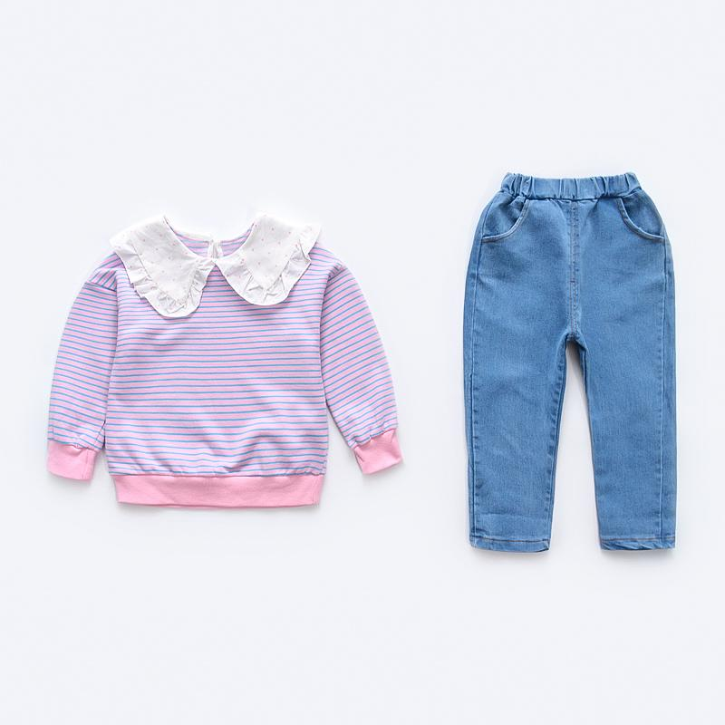 2-piece Lapel Collar Striped Blouse & Pants for Toddler Girl