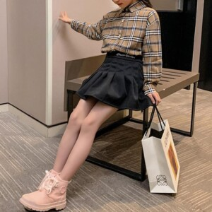 2-piece Plaid Shirts & Skirt for Girl