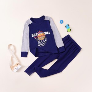 2-piece Football Pattern Pajamas Sets for Toddler Boy