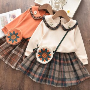 3-piece Lapel Collar Tops & Plaid Skirt & Messenger Bag for Toddler Girl