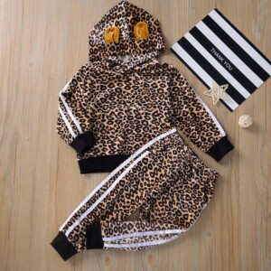 2-piece Leopard Hoodie & Pants for Toddler Girl