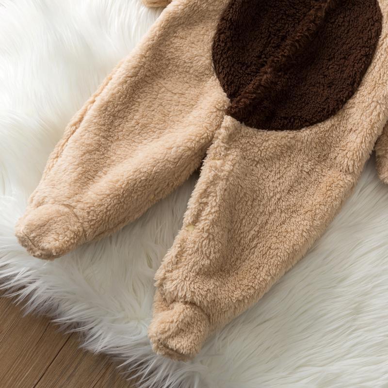 Deer Pattern Fleece-lined Jumpsuit for Baby
