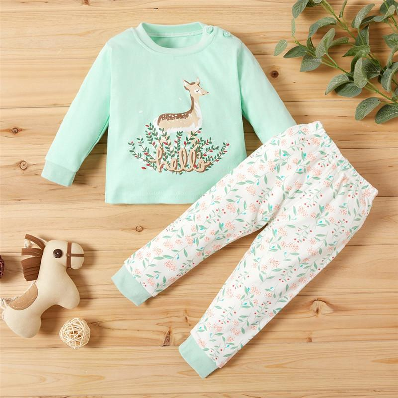 Toddler Sika Deer Top and Floral Pants Pajamas Set