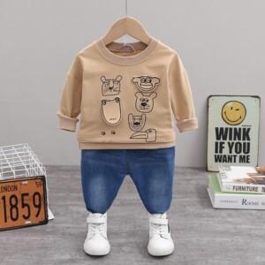 2-piece Cartoon Design Sweatpants & Pants for Toddler Boy