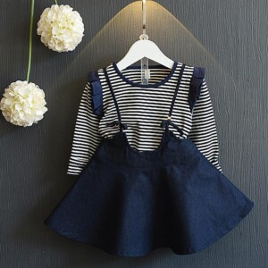 2-piece Solid Pattern Hoodie & Denim Skirt for Toddler Girl
