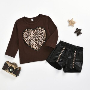 2-piece Heart-shaped Printed Tops & Shorts for Toddler Girl