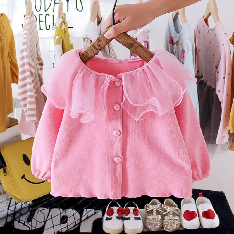 Solid Lapel Collar Sweater for Toddler Girl