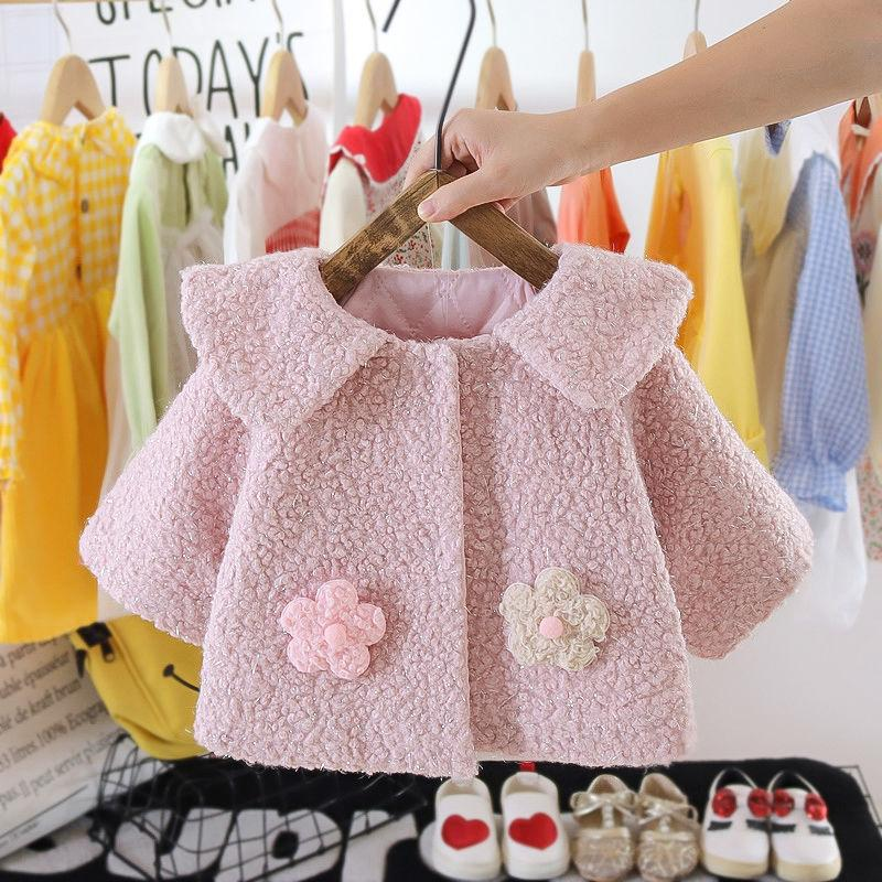 Floral Pattern Woolen Cloth Duffle Coat for Toddler Girl