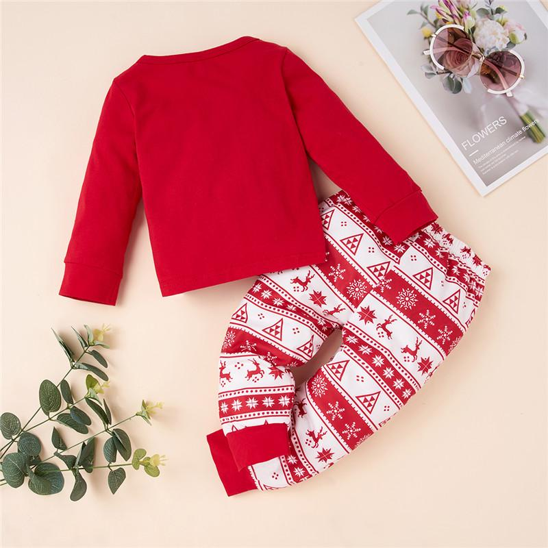 2-piece Christmas Deer Pattern Bodysuit and Pants for Toddler Girl