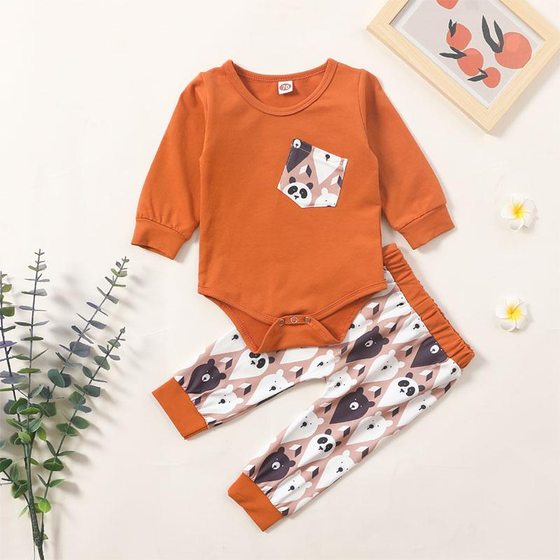 2-piece Bear Pattern Romper & Bear Pattern Pants for Baby