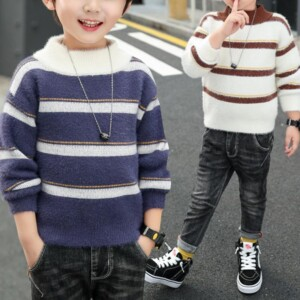 Stripes Pattern Knitted Sweater for Boy