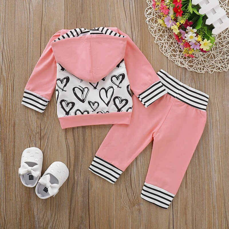 Two-piece Love Hooded Long Sleeve Suit for Baby Girl