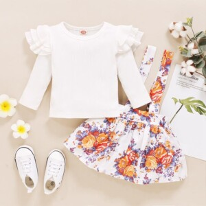 2-piece Solid Ruffle Tops & Floral Printed Dungarees for Baby Girl