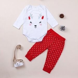 2-piece Deer Jumpsuit & Polka Dot Pants for Toddler Girl