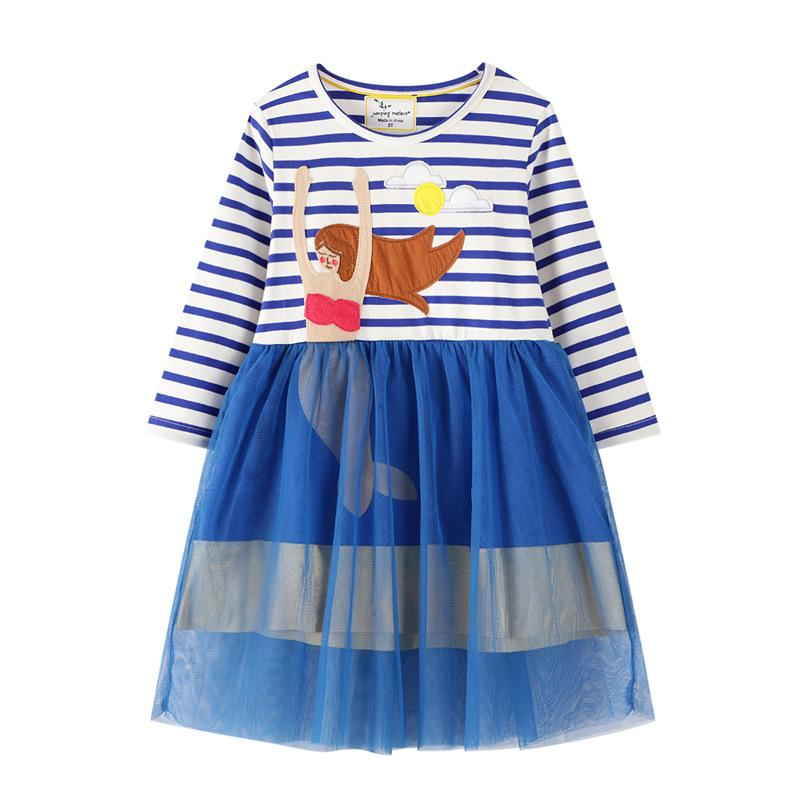 Cartoon Design Patchwork Tulle Dress for Toddler Girl