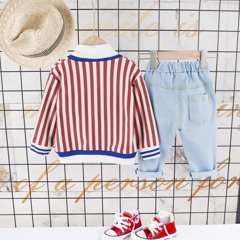 3-piece Stripes Pattern Coat & Shirts & Pants for Toddler Boy