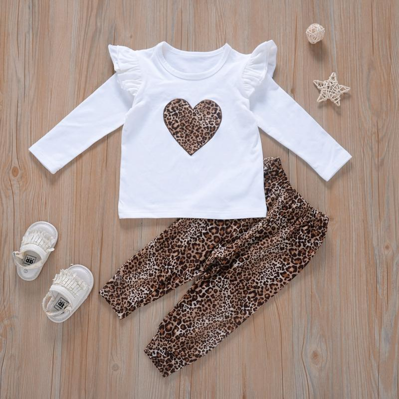 2-piece Heart-shaped Pattern Tops & Pants for Toddler Girl