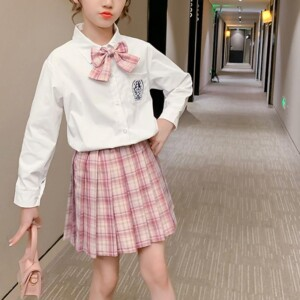 2-piece blouse & Plaid Skirt for Girl