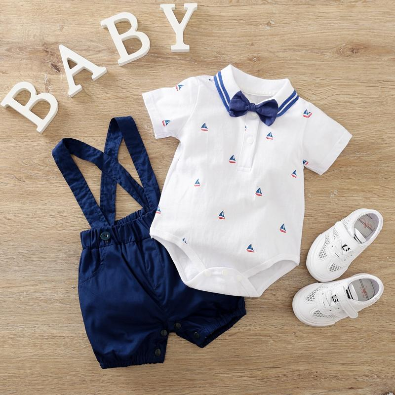 2-piece Bow Decor Bodysuit & Dungarees for Baby Boy