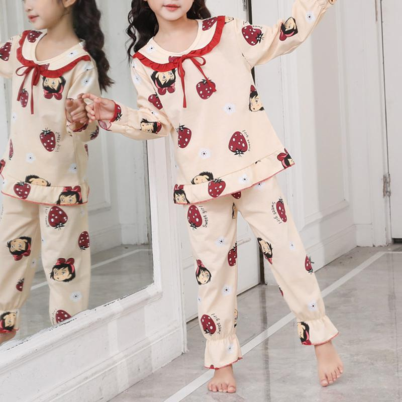 2-piece Strawberry Pattern Pajamas Sets for Girl