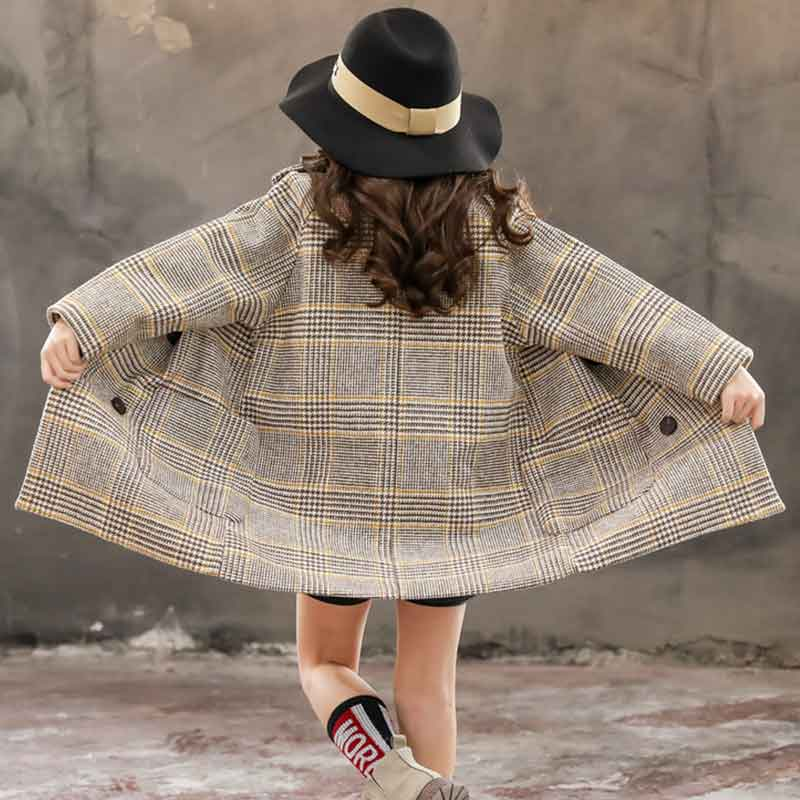 Plaid Thick Duffle Coat for Girl