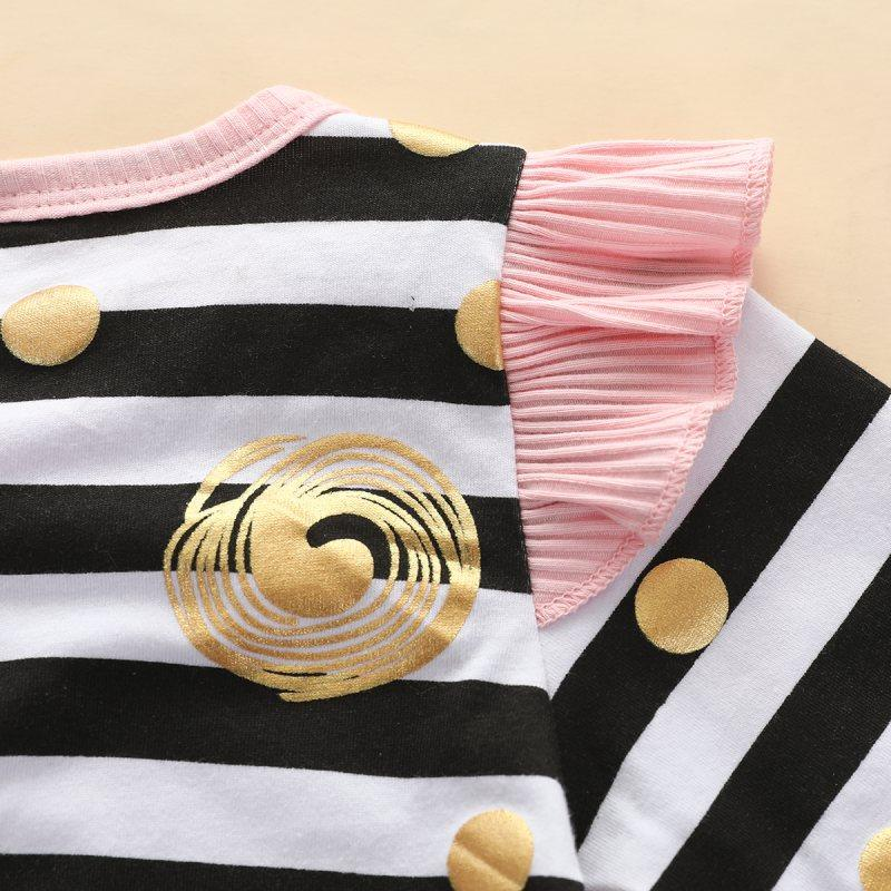 Cartoon Design Stripes Jumpsuit for Baby Girl
