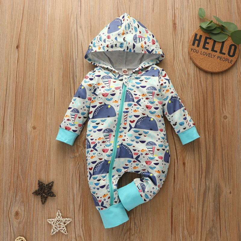 Whale Pattern Hooded Jumpsuit for Baby