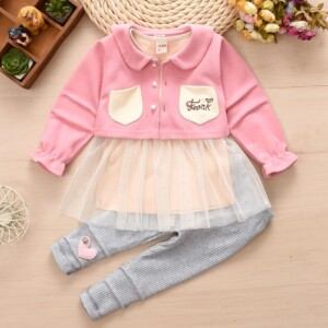 3-piece Chest mark Cardigan Sweater & Dress & Pants for Toddler Girl