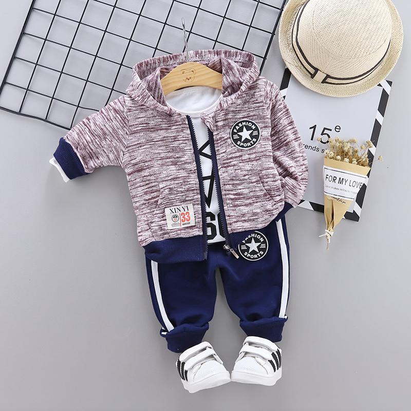 3-piece Geometric Pattern Hooded Coat & Pants & Sweatshirt for Toddler Boy