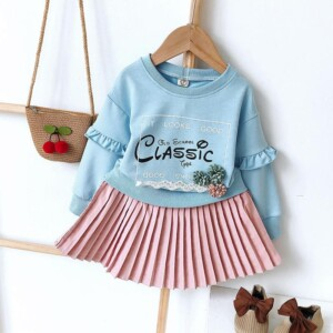 2-piece Letter Pattern Hoodie & Skirt for Toddler Girl