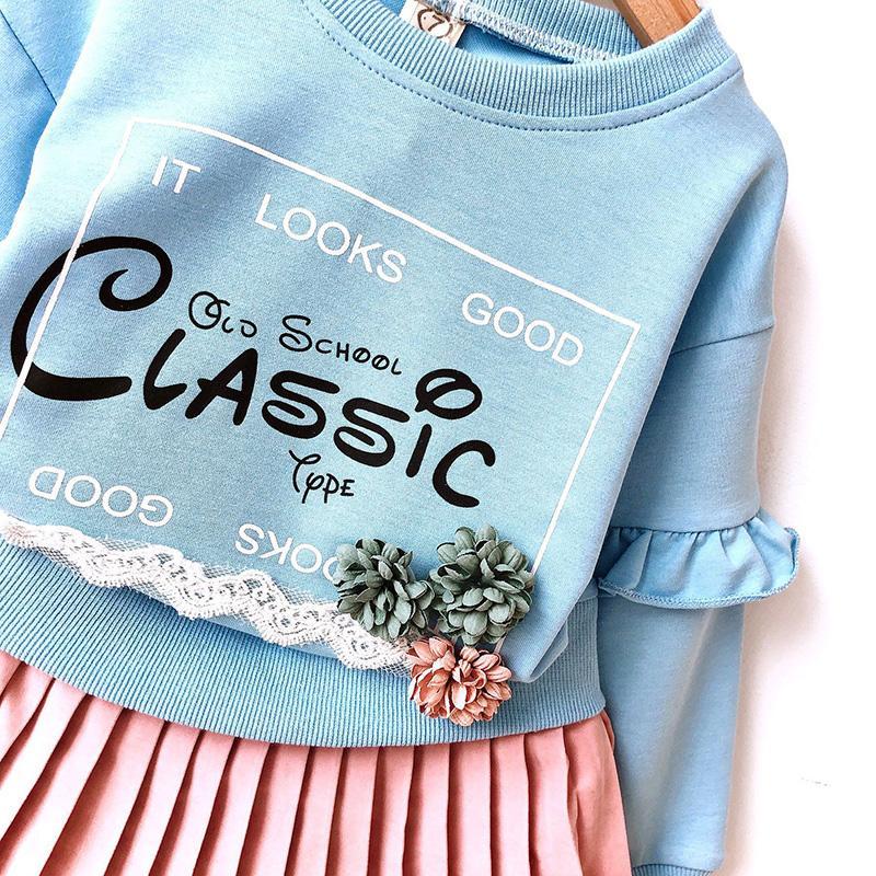 2-piece Letter Pattern Hoodie & Skirt for Toddler Girl
