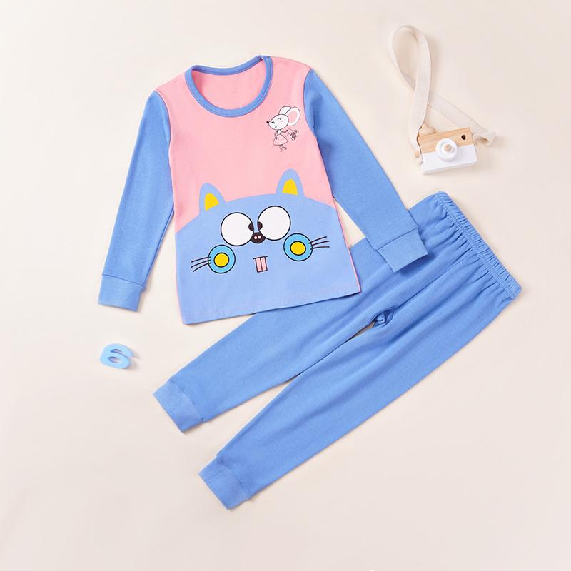 2-piece Cat Pattern Pajamas Sets for Toddler Girl