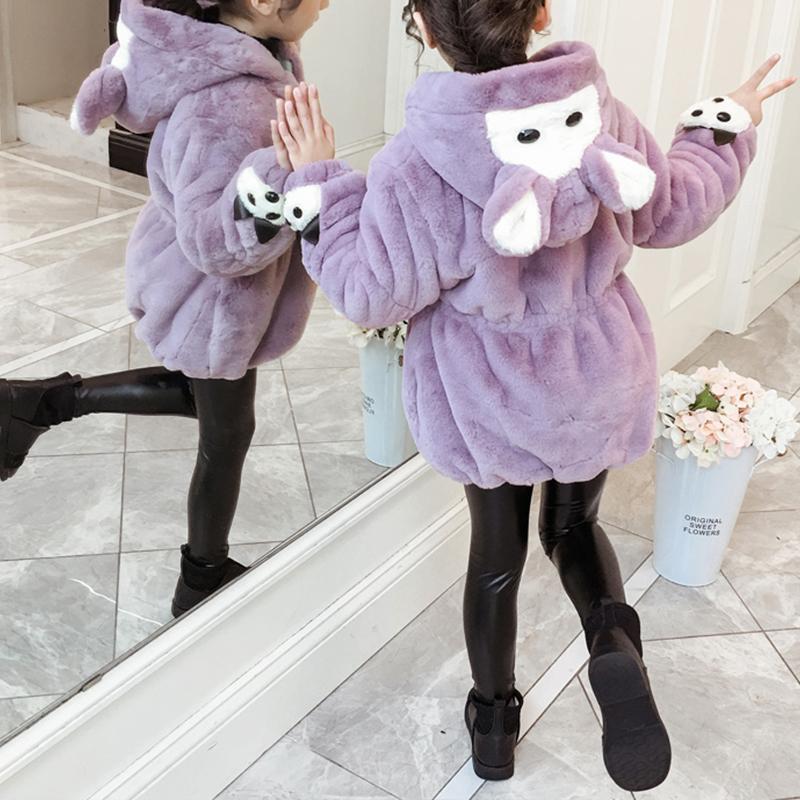 Cartoon Design Fleece-lined Coat for Girl