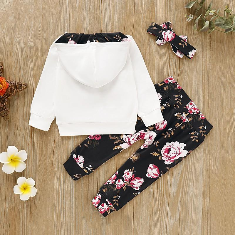 3-piece Retro Floral Splice Hoodie with Headband & Pants for Baby Girl
