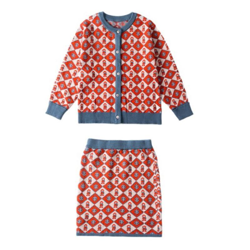 2-piece Geometric Figure Sweater cardigan & Sweater Skirt for Girl