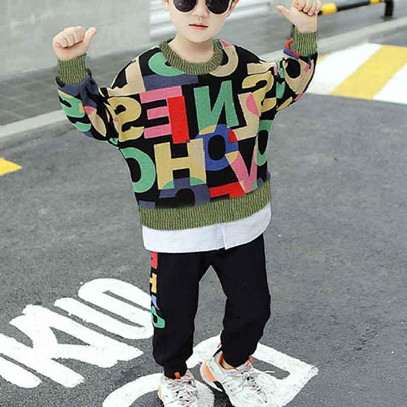 2-piece Letter Pattern Sweatshirts & Pants for Boy