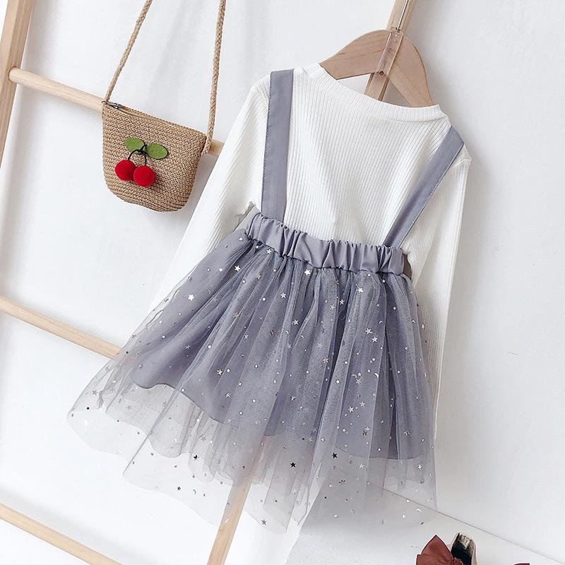 2-piece Bow Mesh Dress Set for Toddler Girl