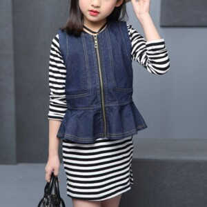 2-piece Stripes Pattern Dress & Vest for Girl