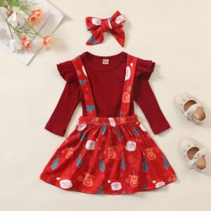 3-piece Christmas Dress Set for Baby Girl