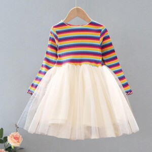 Striped Patchwork Tulle Dress for Toddler Girl