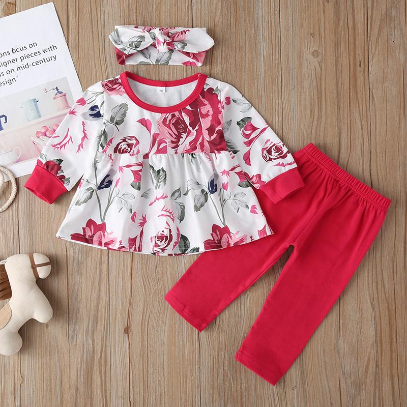3-piece Floral Printed Tops & Pants & Headband for Baby Girl